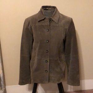 Relativity Genuine leather olive suede jacket